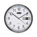 Carven Wall Clock CL285SDATE Round DayDate 285mm Silver Rim Each