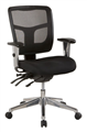 Oyster Oyex1L Medium Mesh Back Clerical Chair With Height Adj Arms  Back With 3 Lever  Chrome Base Black