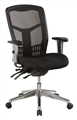 Oyster Oyex1M High Mesh Back Clerical Chair With Height Adj Arms  Back With 3 Lever  Chrome Base Black